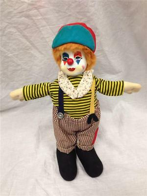 """Porcelain Hand Painted 9"""" Sand Filled Body Clown Doll Made in Thailand"""