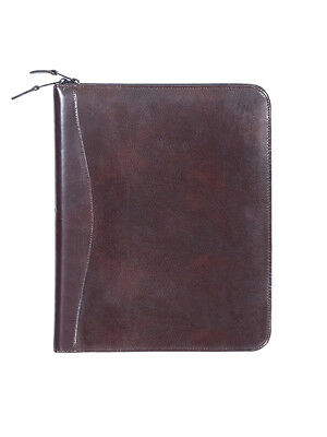 "New Scully Leather 8.5"" X 11"" Monthly & Weekly Planner Zip Organizer Walnut"