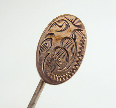 Antique Vintage Victorian Etched Oval Stick Pin