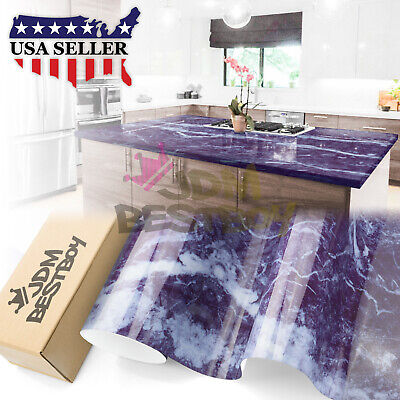 """4""""x8"""" Sample Gloss Marble Granite Look Vinyl Wrap Contact Paper Home Kitchen #01"""