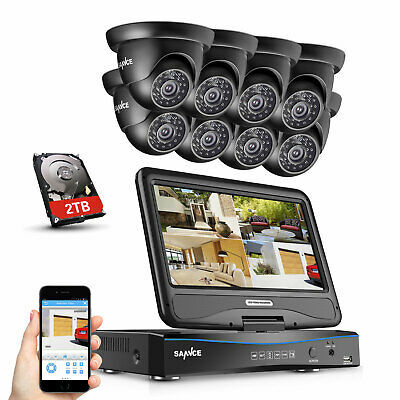 SANNCE 8CH 1080N DVR LCD Monitor 1500TVL Outdoor IR CCTV Security Camera System