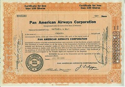 Pan American Airways 1938 Stock Certificate 20 Shares Signed President Trippe