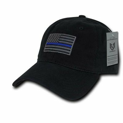 Thin Blue Line Black Ball Cap Velcro American Flag Patch Police OperatorTactical