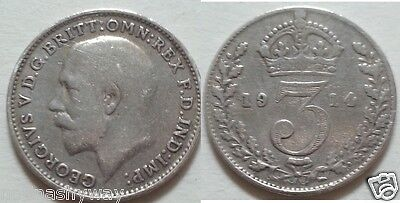 RARE Solid SILVER Threepence 1914 Relic World War I II Coin Old Retro Vintage UK