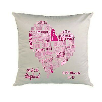 PERSONALISED CUSHION*COVER * WEDDING DETAILS * GIFT * PINKS *   *16 x 16 *