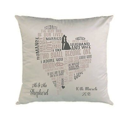 PERSONALISED CUSHION*COVER * WEDDING DETAILS * GIFT *GREYS TEXT *   *16 x 16 *