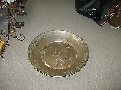 """Antique Ottoman Islamic Middle Eastern Copper Tray Basin Tub Hand Hammered 22"""""""