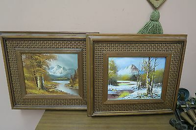 """Set @ 2 Vintage Signed Oil Canvas Painting 8"""" x 10"""" - 16"""" x 17"""" Mountain River"""