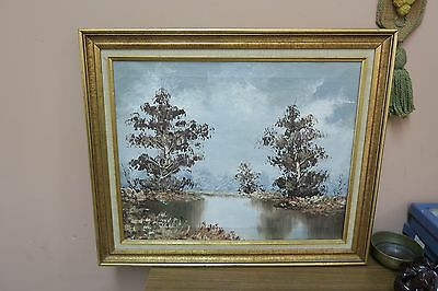 """Vintage Signed Brouer Oil on Canvas Painting  16"""" x 20"""" - 20"""" x 24"""" Framed Trees"""