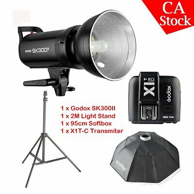 US Godox SK300II 300W 2.4G Flash Strobe+X1T-C for Canon+95cm softbox+light stand