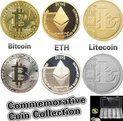 BITCOIN!! ETH Gold Plated Physical Bitcoin Litecoin ETH in protective with Box