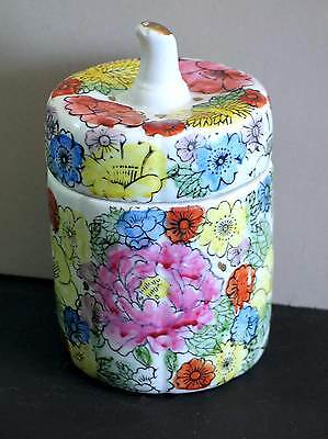 "Pottery Jar Covered Trinket Box Asian Flowers Stem Handle 5.75"" 8 side vtg FREE"