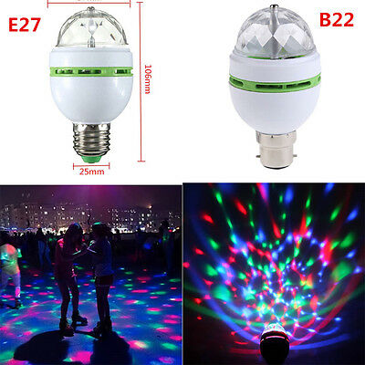 3W E27 B22 RGB LED Auto Rotating Lamp Party Disco Decor Crystal Magic Stage Bulb