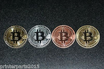 Bitcoin 4pcs Coins (Collectible) Gold-Silver-Copper. Fast Shipping.