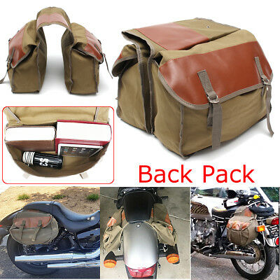 Canvas Motorcycle Saddle Bags Equine Back Pack for Haley Sportster Honda Suzuki