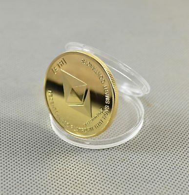 Gold Plated Commemorative Collectible Golden Iron ETH Ethereum Miner Coin - NEW