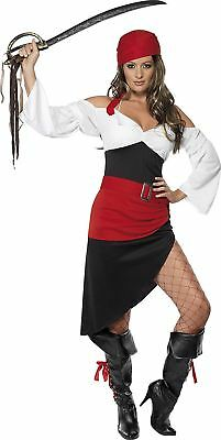 Ladies Sassy Pirate Costume Buccaneer Caribbean Sailor Womens Fancy Dress Outfit