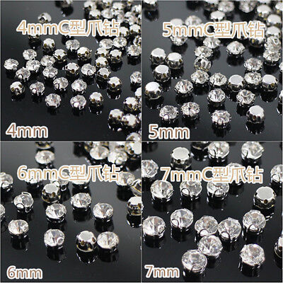 Crystal Rhinestones Claw beads Sew On glass cup Montees silver base Craft Gem B3