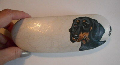 Black and tan Dachshund Dog Hand Painted Eyeglass Case Simulated Leather