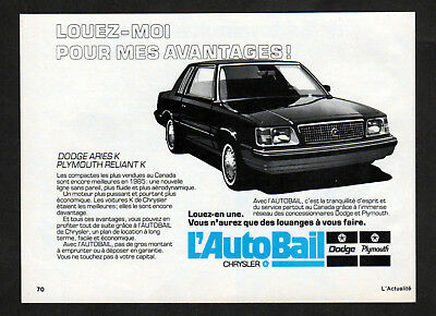 1985 PLYMOUTH Reliant K Vintage Original small Print AD - AutoBail Dodge Aries K