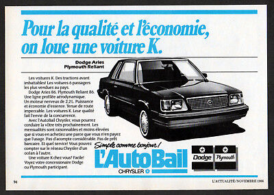 1986 PLYMOUTH Reliant K Vintage Original small Print AD AutoBail Dodge Aries ca