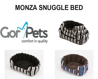 New Gor Pets Monza Snuggle Cat Dog Pet Bed Basket Brown Black Small Medium Large