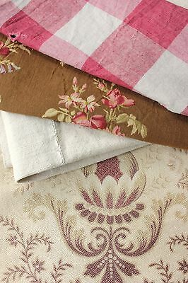 Antique Vintage French fabric old material PROJECT BUNDLE LOVELY ~