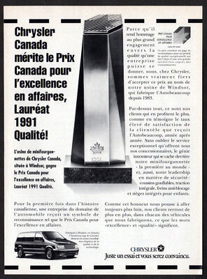 1991 PLYMOUTH Voyager Vintage Original Print AD - Chrysler Quality Award Winner