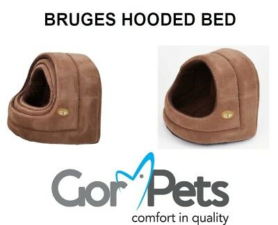 New - Gor Pets - Bruges Hooded Bed - Pet bed for Cats & Small Dogs 3 Sizes Brown