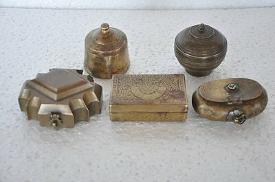 5 Pcs Old Brass 1930's Handcrafted Small Boxes, Nice Patina