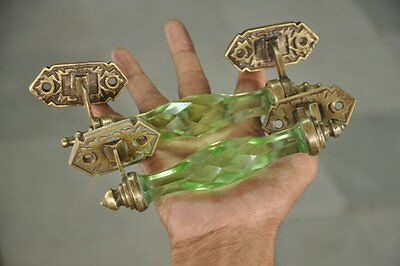 2 Pc Vintage Brass Unique Crafted Victorian Green Cut Glass Door Handle