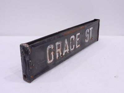 GRACE ST. Retired Antique Vtg Embossed Hand Painted Steel Street Road Sign PA