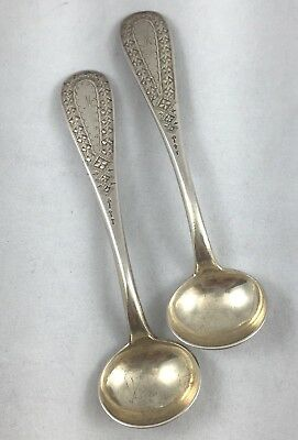Pair of Early Decorated Sterling Mustard Condiment Spoons by Shreve Crump & Low