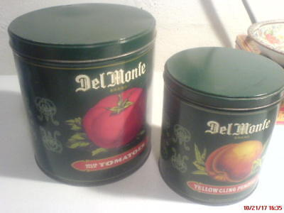 2 Del Monte canisters from the 80's--large tomato for flour, peach for coffee