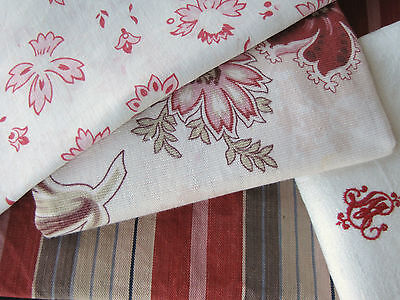 Vintage antique  French fabrics pack ~ Project bundle ~faded lovely tones ~