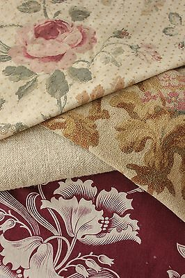 Antique Vintage French fabric material 19th century fabrics old  PROJECT BUNDLE