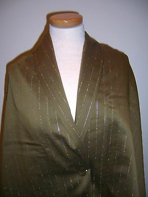 2.66 Couture Designer Wool Fabric Green W Metallic Iridescent Gold Pinstripe