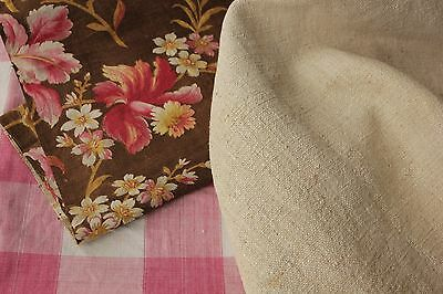 Vintage French fabrics antique material PROJECT BUNDLE 19th pink check + linen