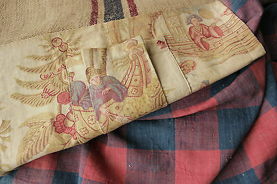 Antique Vintage French fabrics materials ~ wonderful check printed + linen