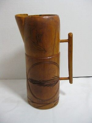 Vintage Primitive Folk Art Hand Carved Wood Pitcher Signed