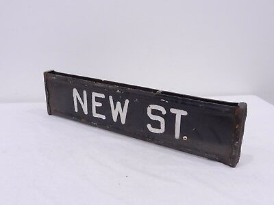 NEW ST. Retired Antique Vintage Embossed Hand Painted Steel Street Road Sign PA