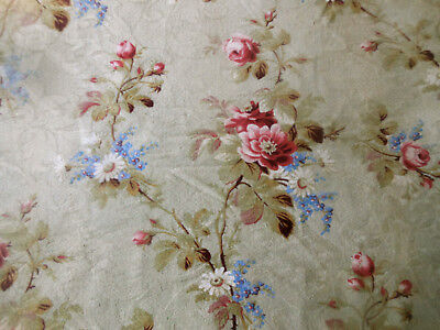Antique French Roses Daisy Forget-me-not Floral Cotton Fabric~  Pink Blue Sage