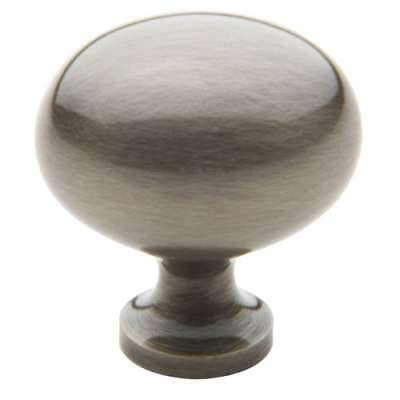 Baldwin 4913 Antique Nickel 1-3/8 Inch Diameter Solid Brass Oval Knob