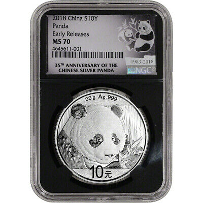 2018 China Silver Panda 30 g 10 Yuan - NGC MS70 - Early Releases 35th Ann Black
