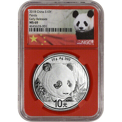 2018 China Silver Panda 30 g 10 Yuan - NGC MS69 - Early Releases Panda Label Red