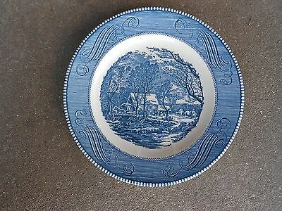 Royal China Ironstone Currier and Ives DINNER PLATE   USA  Green Stamp