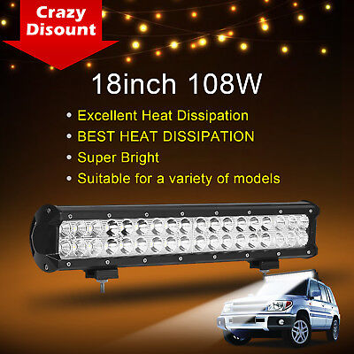 18inch 108W CREE LED Light Bar Off road Truck Boat Jeep Driving Fog Ford SUV 17