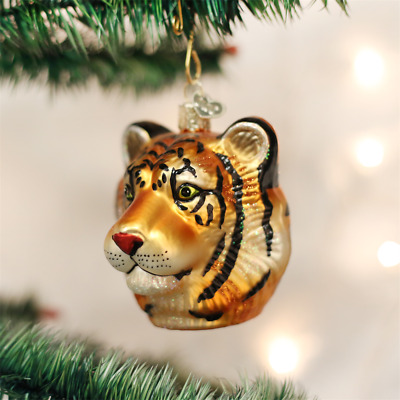Tiger Head Blown Glass Ornament by Old World Christmas New With Tag