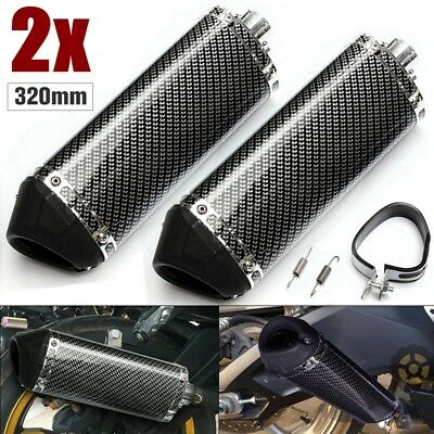 Pair 38mm Motorcycle Exhaust Muffler Pipe w/ Removable Silencer Carbon Fiber