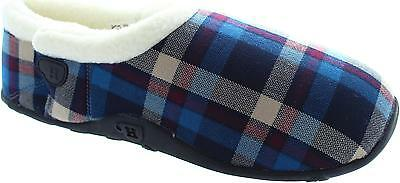 Homeys Anton Men's Blue And Cream Checkboard Warm Lined Adjustable Slippers New